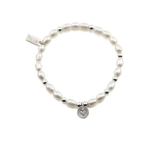 Small Pearl Bracelet with Heart in Circle Charm - Pearl & Silver