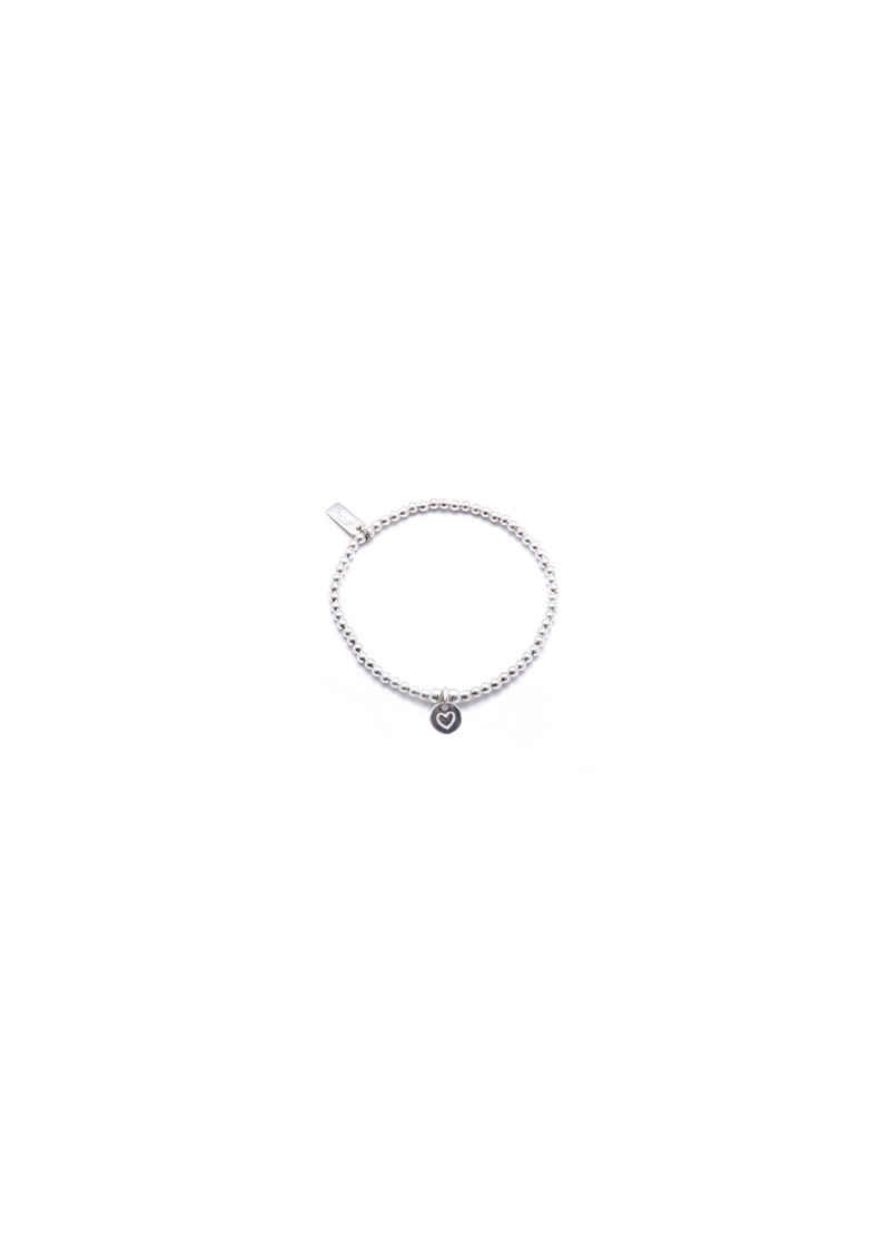 ChloBo Cute Charm Bracelet with Heart in Circle Charm - Silver main image