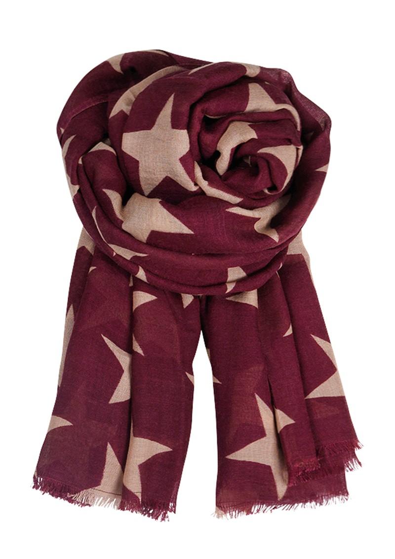 Becksondergaard E Supersize Nova Star Wool & Silk Blend Scarf - Grape Wine main image