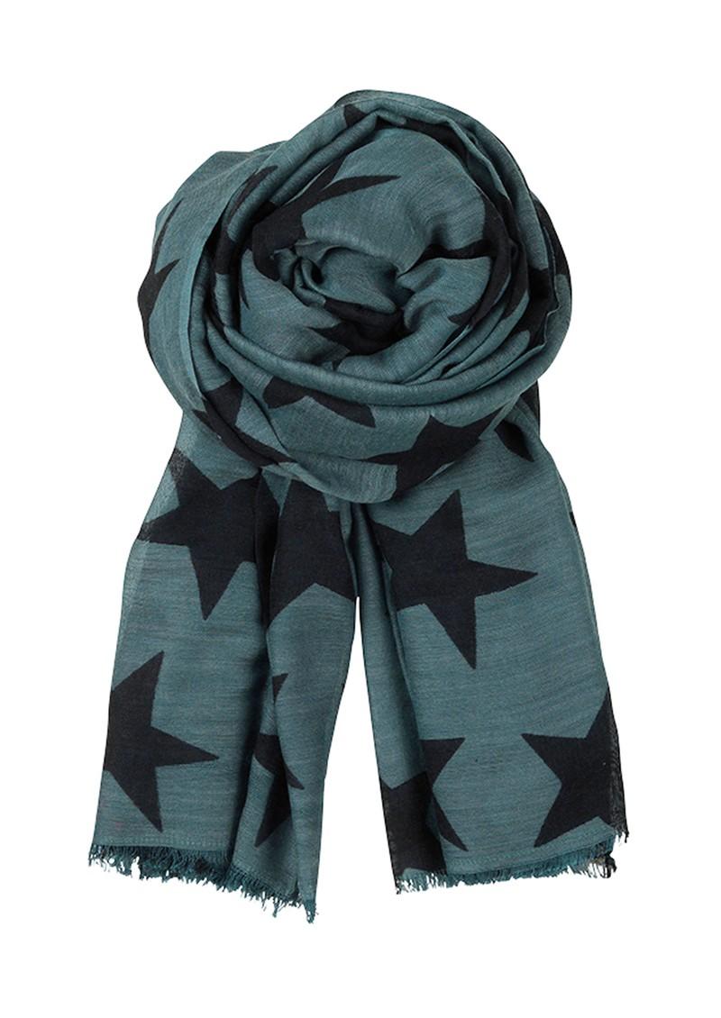 Becksondergaard E Supersize Nova Star Wool & Silk Blend Scarf - Dark Green main image