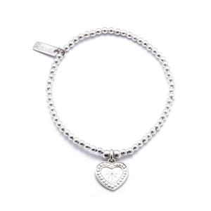 Cute Charm Star Heart Bracelet - Silver