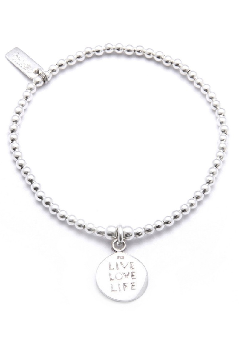 Cute Charm Bracelet with Live Love Life Charm - Silver main image