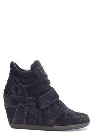 Ash Bowie Calf Suede Wedge Trainers - Black