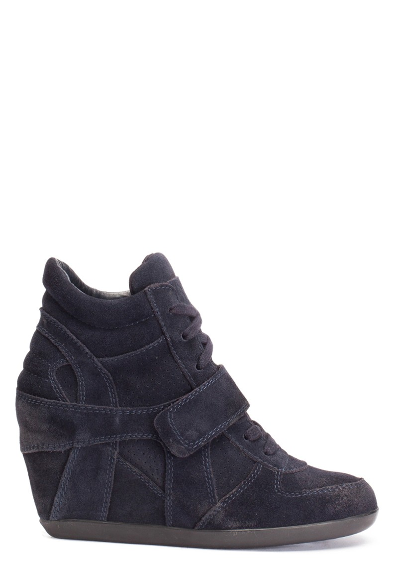 Ash Bowie Calf Suede Wedge Trainers - Black main image