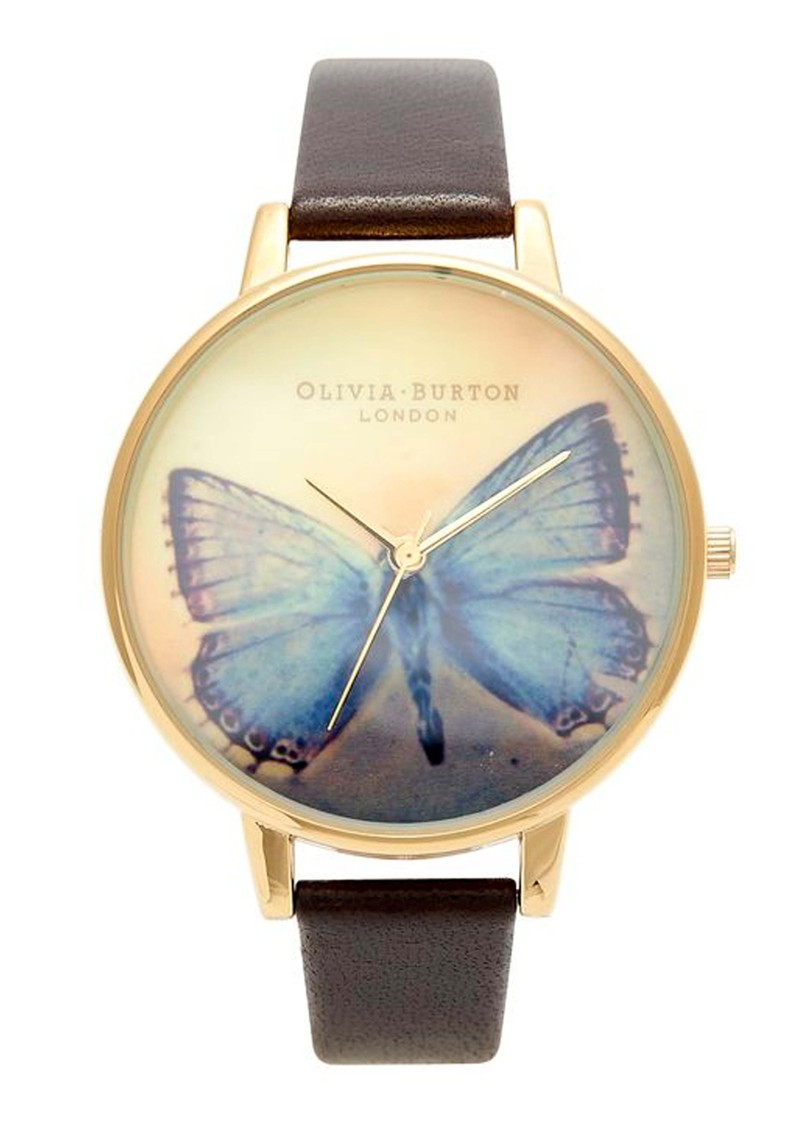 Woodland Butterfly Watch - Gold & Dark Chocolate main image