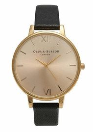Olivia Burton Big Dial Watch - Black & Gold