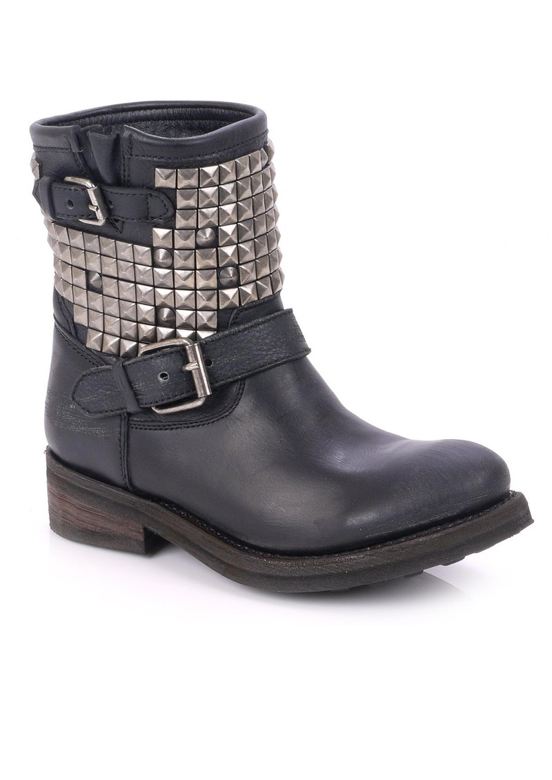 37c462804da AshTitan Destroyer Studded Biker Boot - Silver & Black
