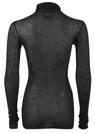 American Vintage Massachusetts Long Sleeved Polo Neck Top - Black
