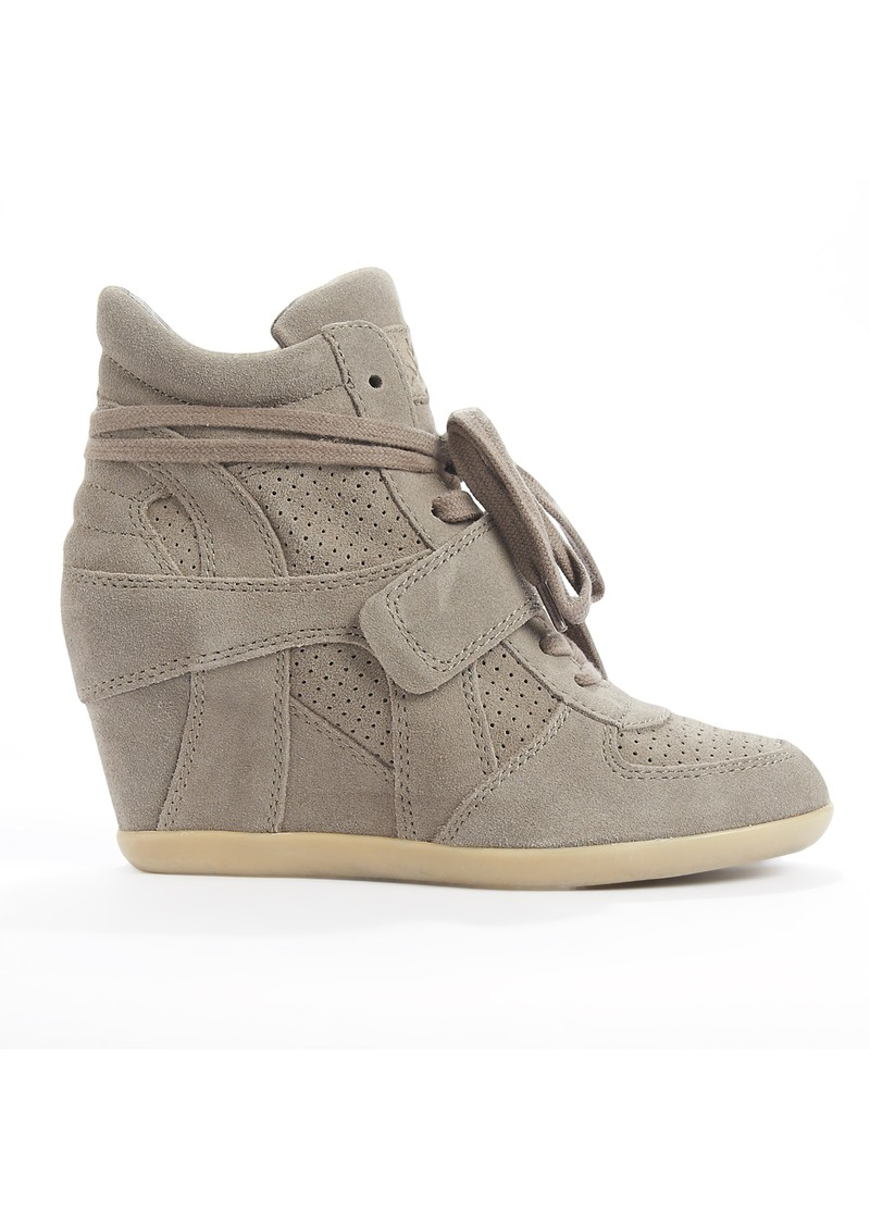 Ash Bowie Calf Suede Wedge Trainers - Stone main image