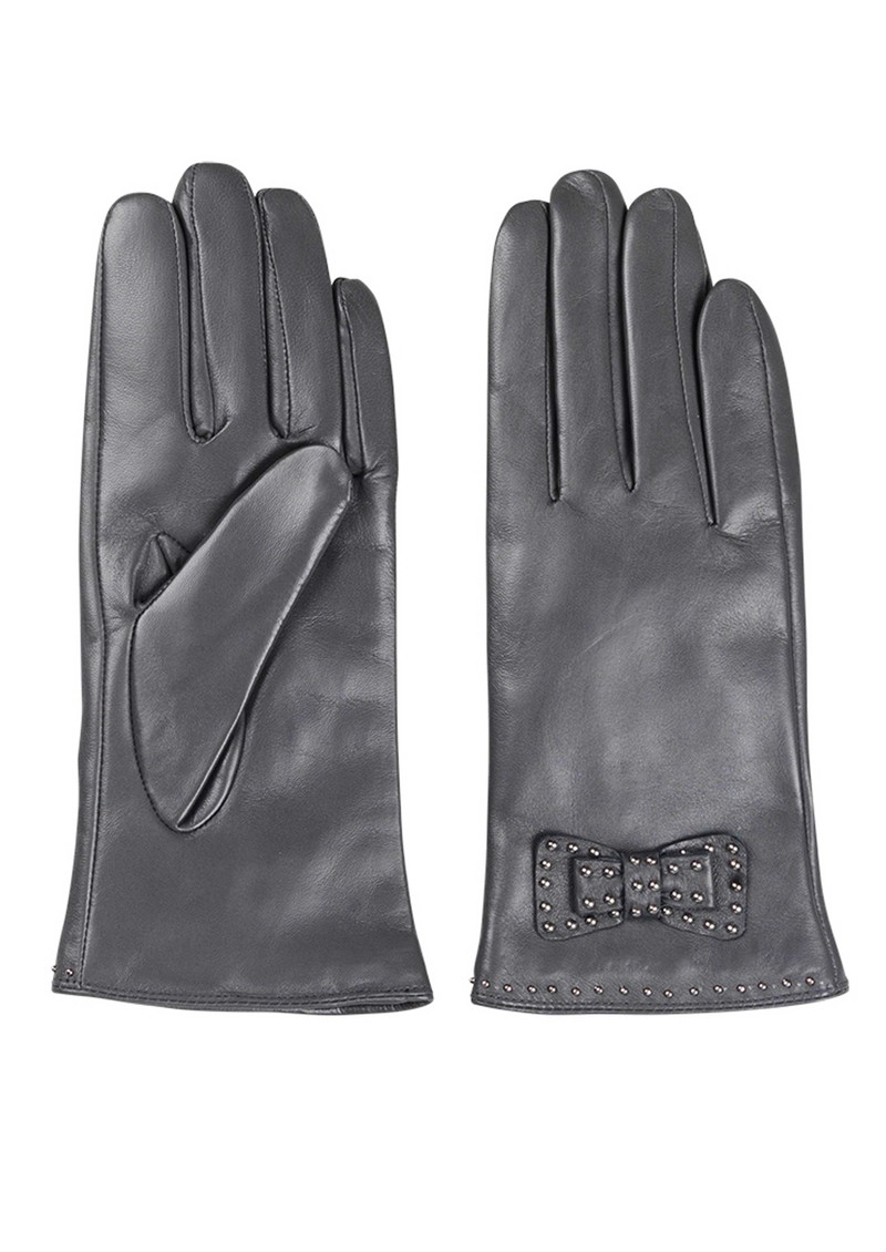 E Bow Leather Gloves - Grey main image
