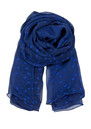 E Flower Range Silk Scarf - Rich Blue additional image