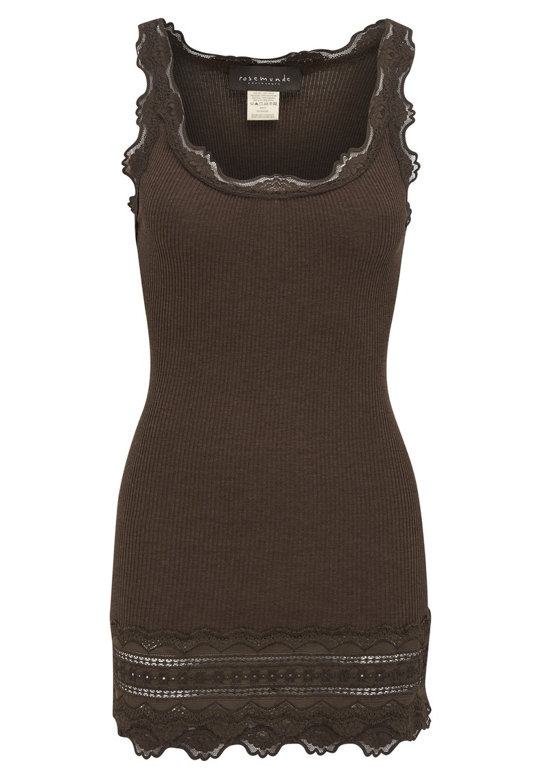 Rosemunde Wide Lace Silk Blend Vest - Bark main image