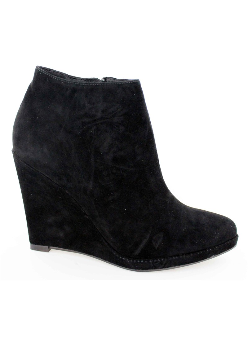 Lola Cruz Suede Wedge Ankle Boots - Black main image