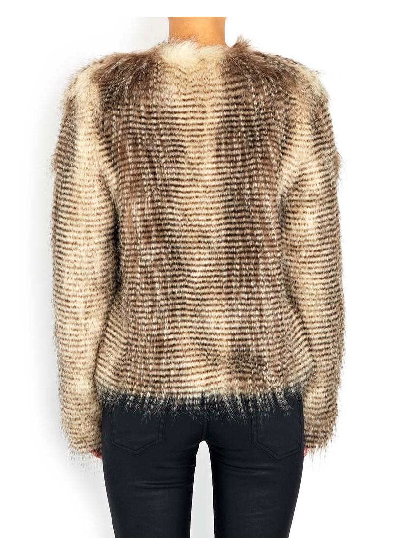 Unreal Fur Furry Floss Faux Fur Jacket - Chocolate Raccoon  main image