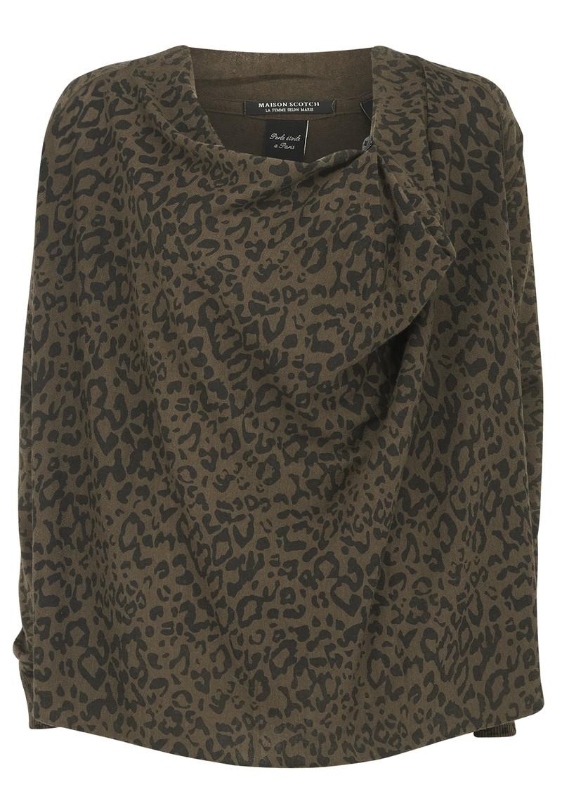 Maison Scotch Cowl Neck Leopard Print Knit - Olive main image