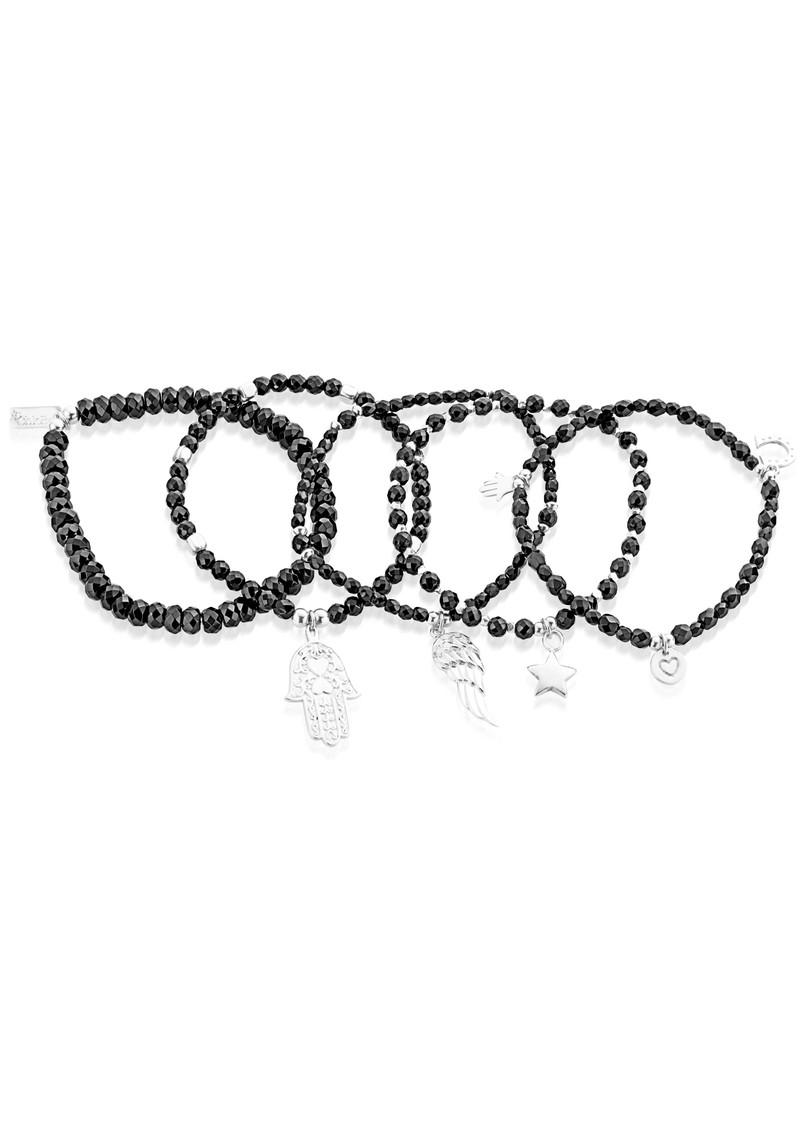 ChloBo Lucky 13 Set of 5 Black Sparkle Bracelets - Black & Silver main image