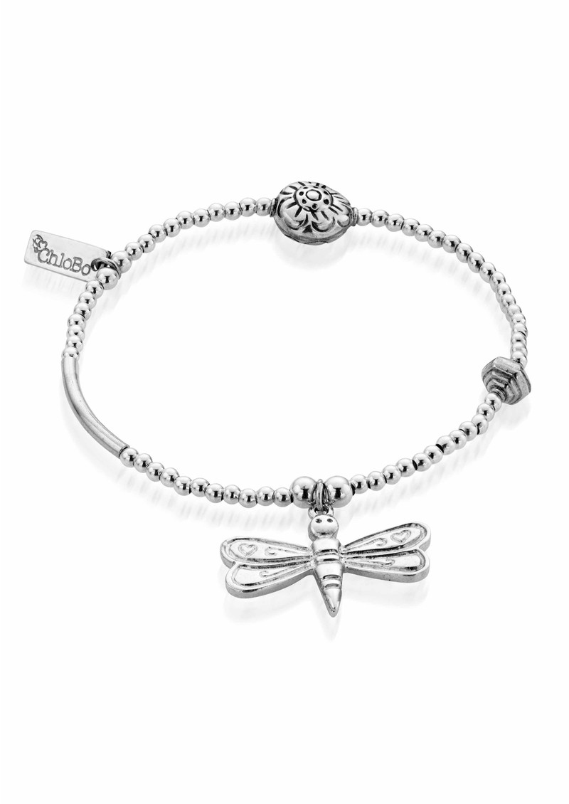 ChloBo Multi Bead Bracelet with Dragonfly - Silver main image