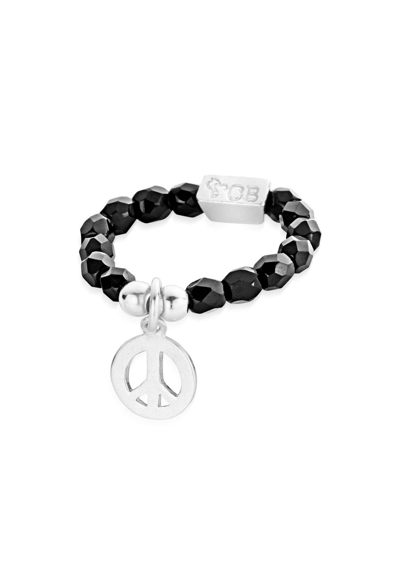 ChloBo Lucky 13 Black Sparkle Ring with Peace Charm - Black & Silver main image
