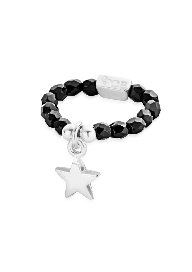 ChloBo Lucky 13 Black Sparkle Ring with Star Charm - Black & Silver main image