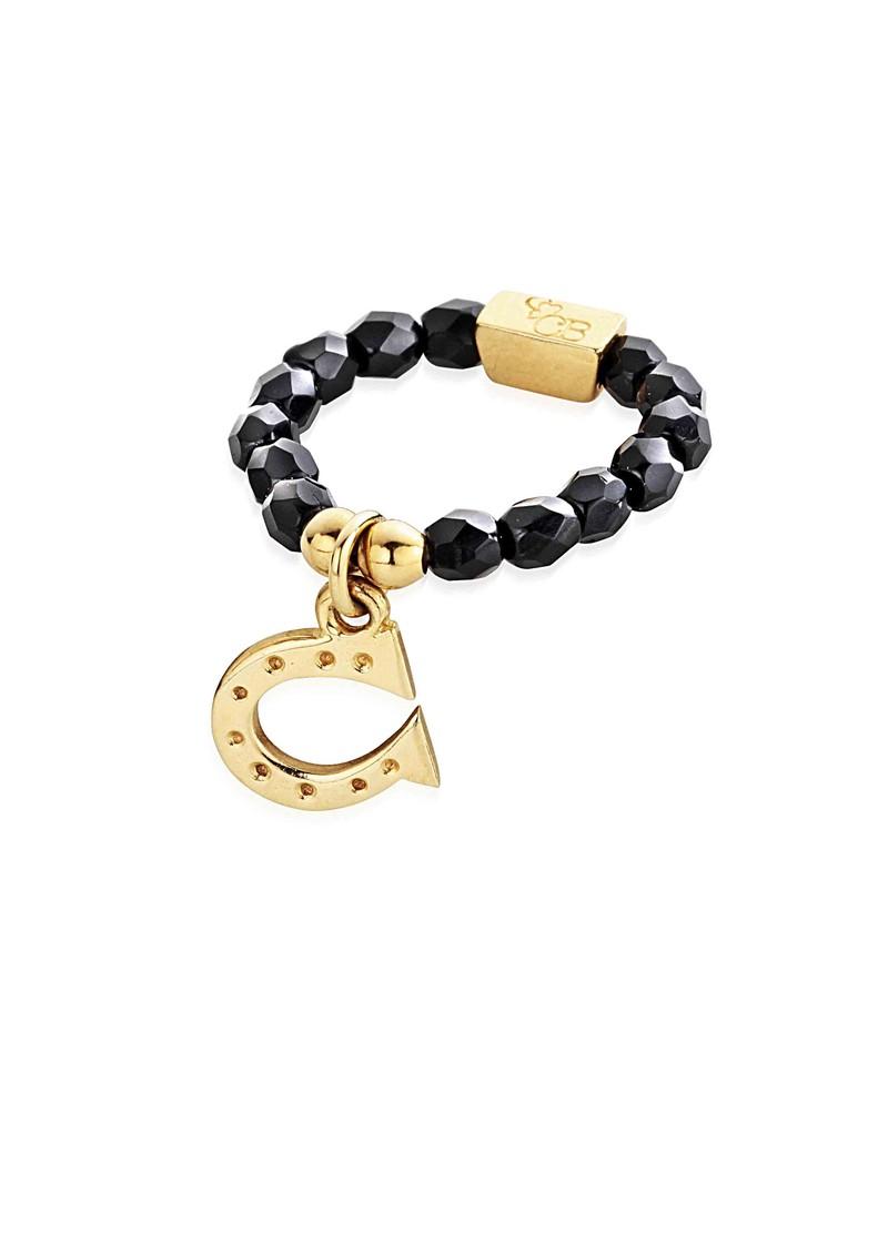 ChloBo Lucky 13 Black Sparkle Ring with Horseshoe Charm - Black & Gold  main image
