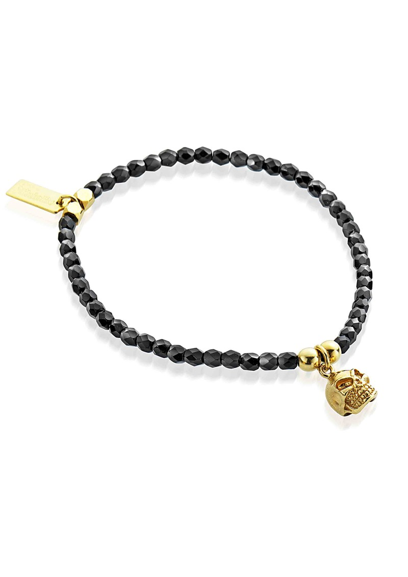 ChloBo Lucky 13 Cute Black Sparkle Bracelet with Skull - Black & Gold main image