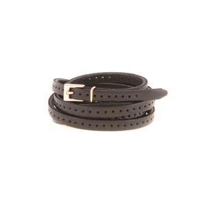 Orla 2 Double Wrap Skinny Belt - Black