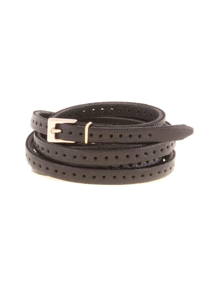 Black & Brown  Orla 2 Double Wrap Skinny Belt - Black main image