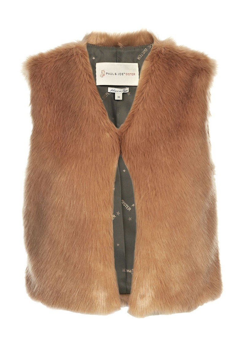 Paul and Joe Sister Nouours Faux Fur Gillet - Vieux Rose main image
