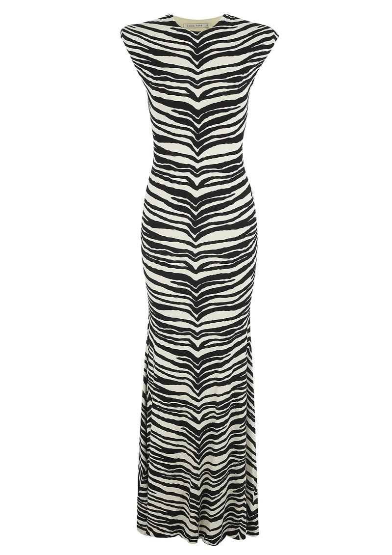 NADIA TARR Animal Print Padded Shoulder Gown - Zebra  main image