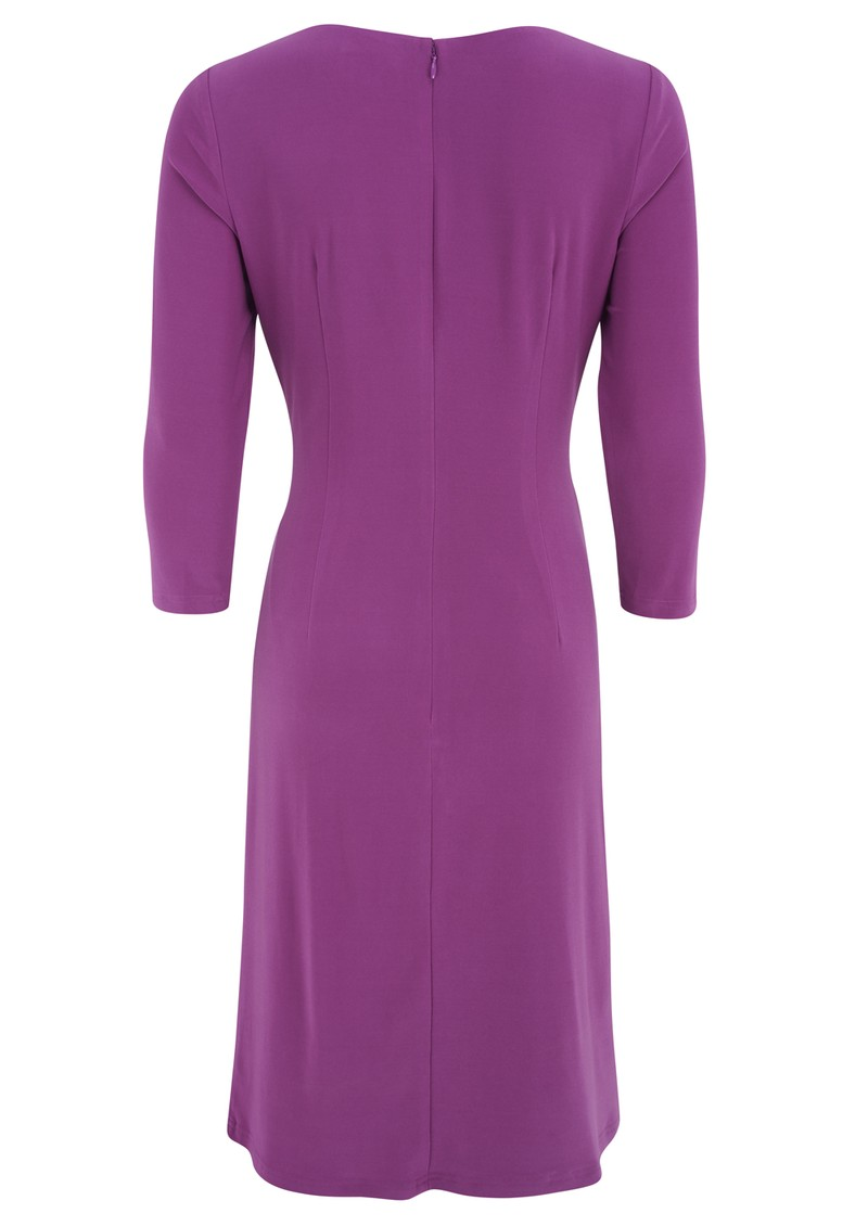 ADRIANNAPAPELL Asymmetric 3/4 Sleeve Ruched Dress - Violet   main image