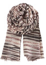 Becksondergaard G Striped Snake Silk & Wool Mix Scarf - Smokey