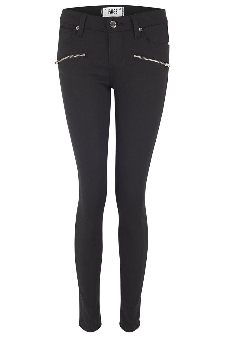 Paige Denim Indio Rose Gold Zip Skinny Jeans - Steel Grey main image