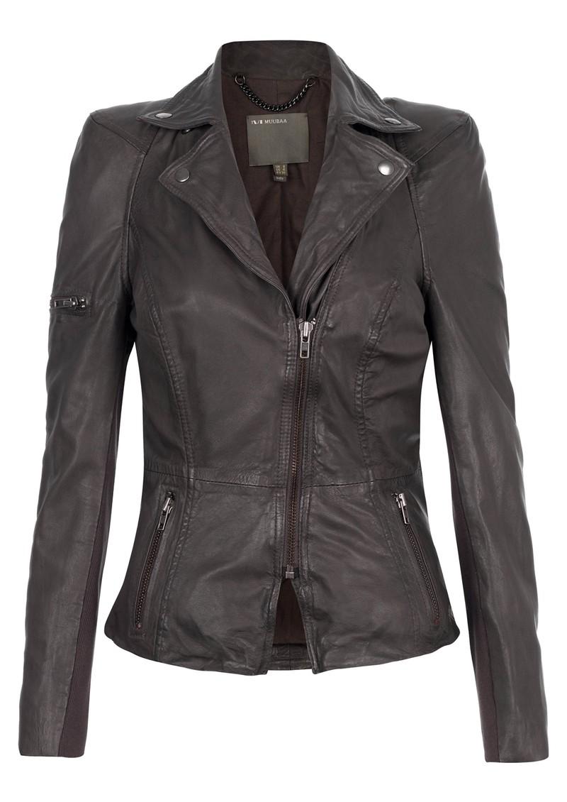 Muubaa Lyra Biker Leather Jacket - Slate Grey main image