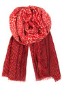 H Leo Dip Wool & Silk Blend Scarf - Electric Coral  additional image