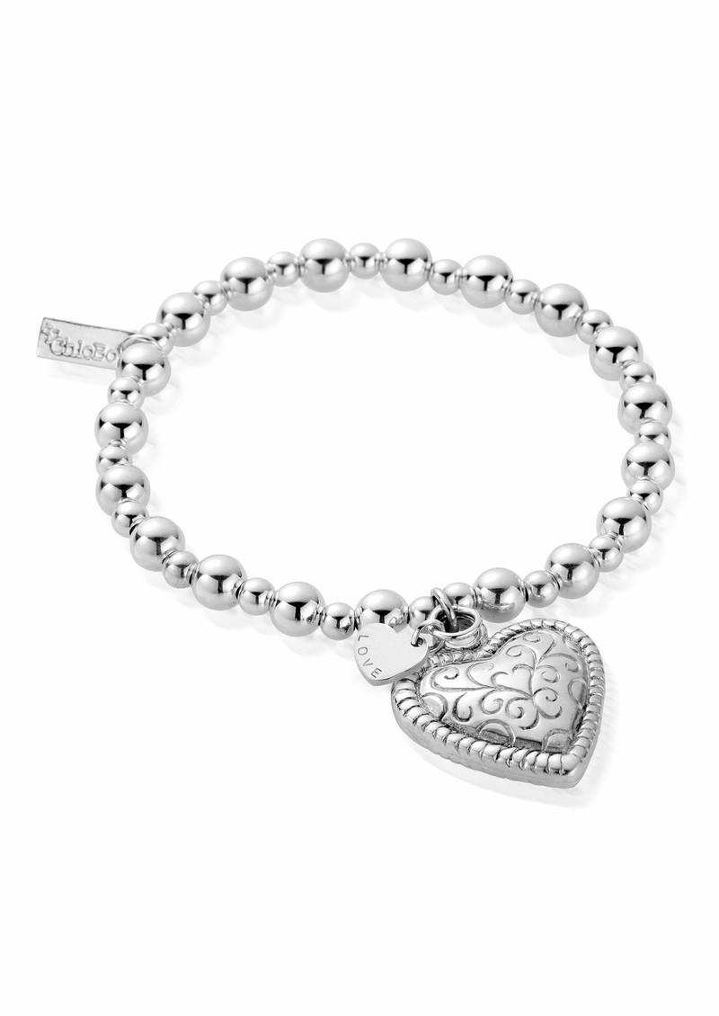 ChloBo Mini Small Ball Scallop Heart Bracelet - Silver  main image