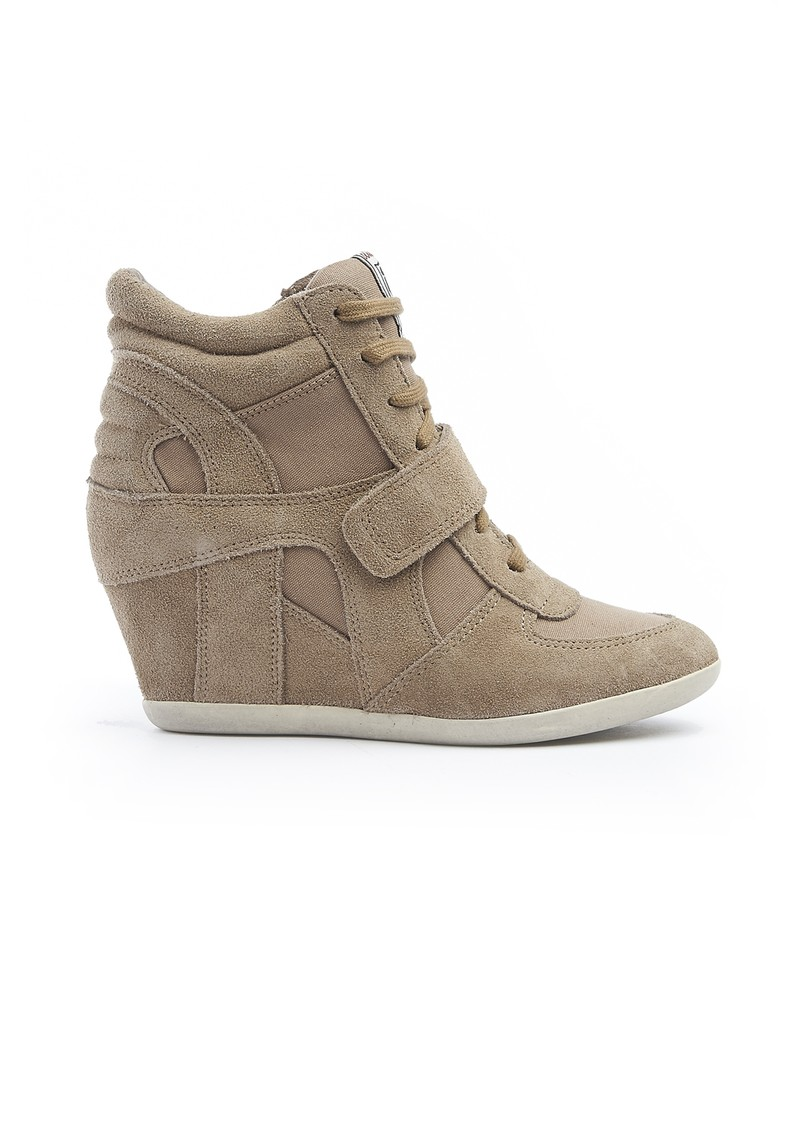Ash Bowie Suede Suca Canvas Wedge Trainers - Taupe main image. Loading zoom