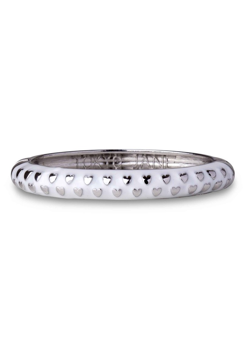 Hearts Bangle - White  & Silver  main image