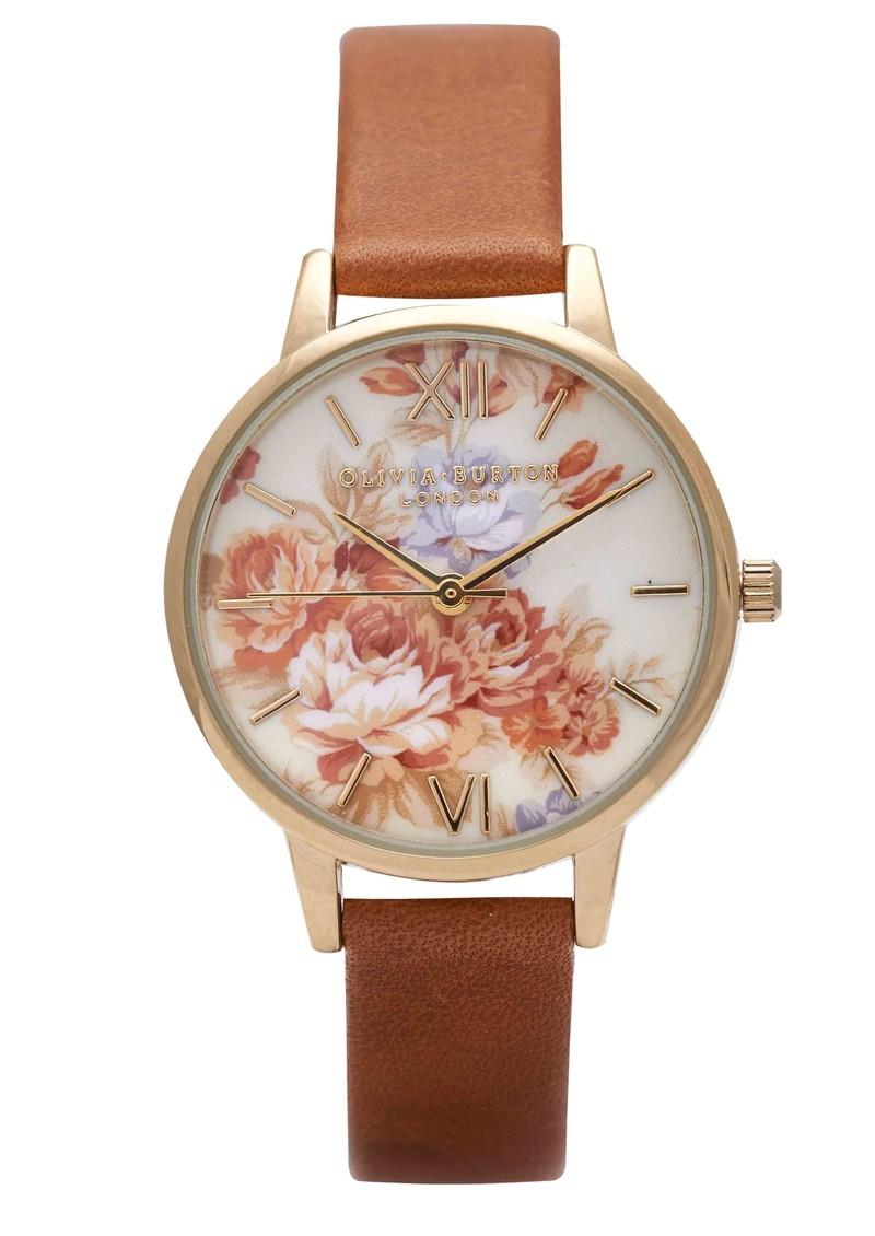 Olivia Burton Wonderland Flower Show Watch - Tan & Floral main image