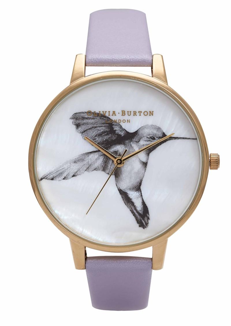 Olivia Burton Animal Motif Mother Of Pearl Hummingbird Watch - Lilac & Gold main image
