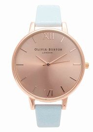 Olivia Burton Big Dial Watch - Powder Blue & Rose Gold