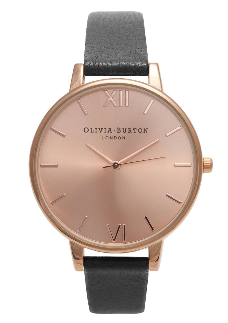 Olivia Burton Big Dial Watch - Black & Rose Gold main image