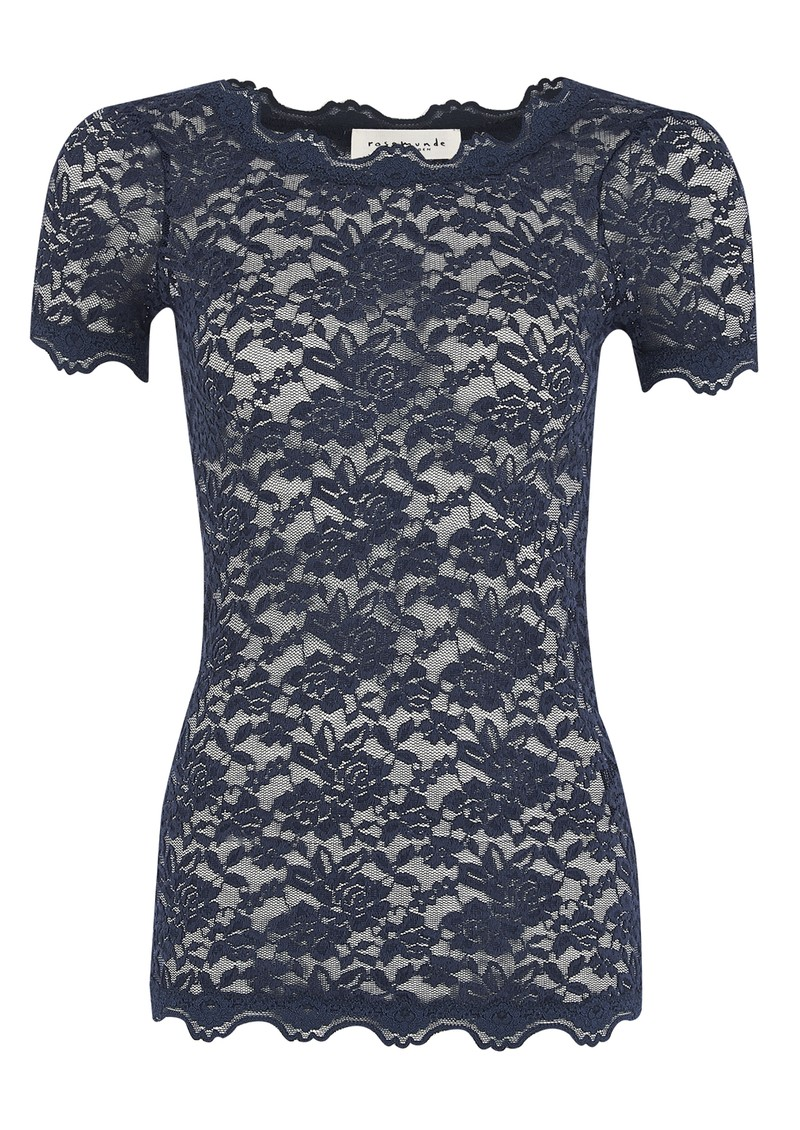 Lace Short Sleeve Top - Navy main image