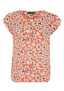 Mercy Delta Blair Leopard Short Sleeve Blouse - Orange