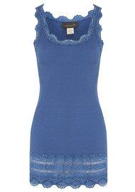Rosemunde Wide Lace Silk Blend Tank - Sapphire  Blue