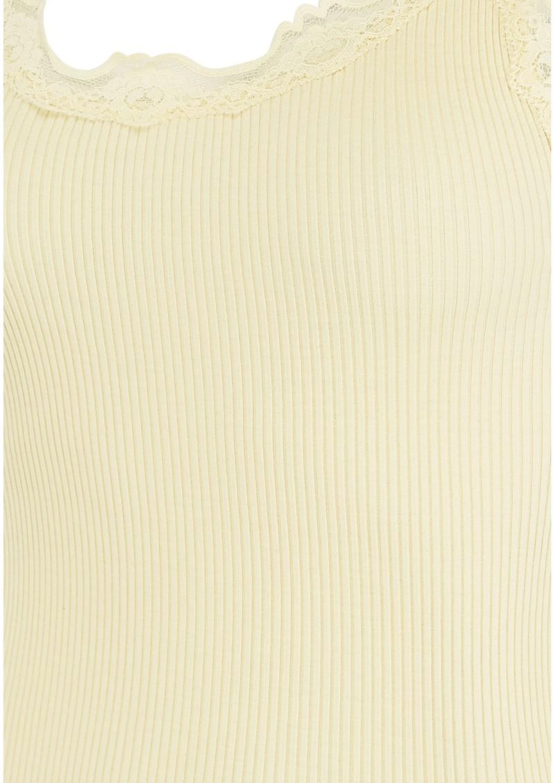 Rosemunde Wide Lace Silk Blend Tank - Pale Yellow main image