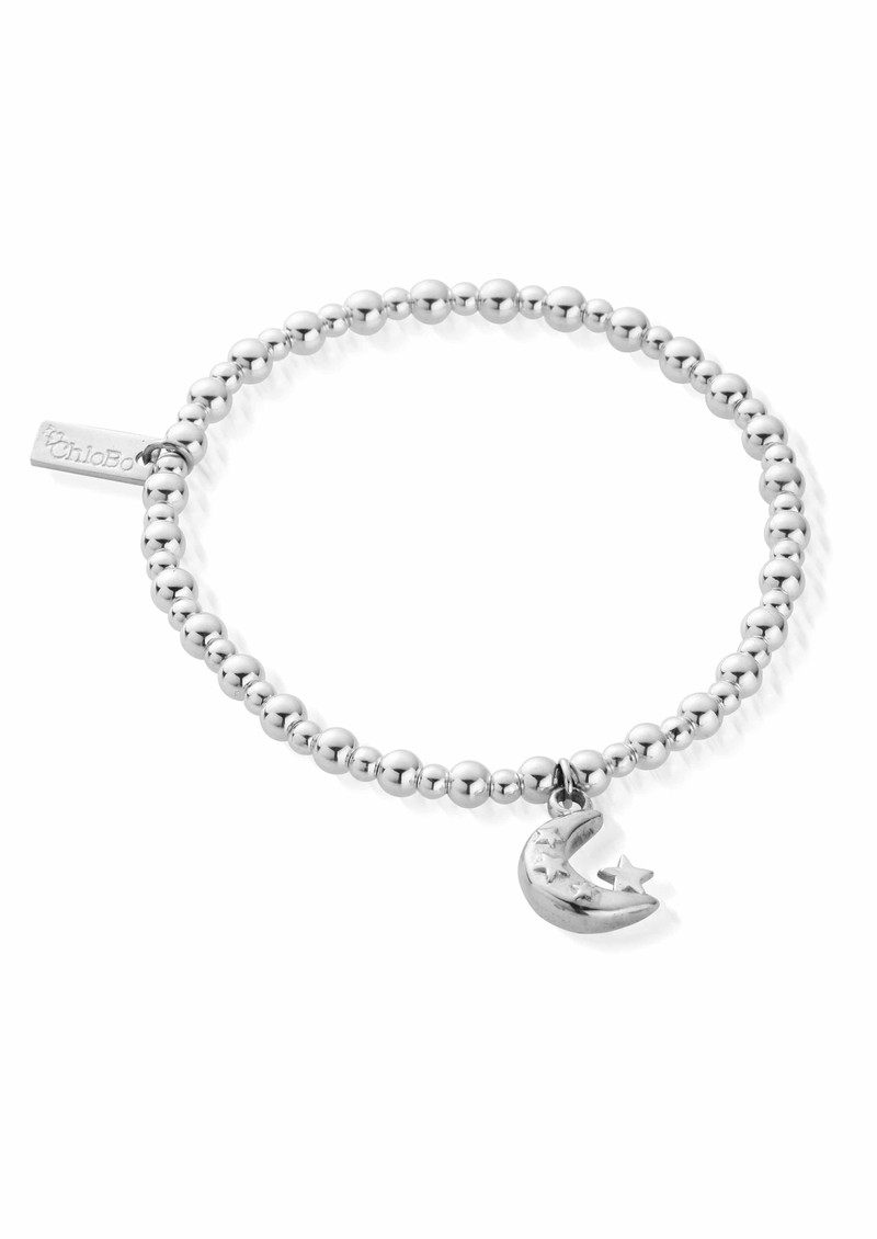 ChloBo Let's Dance Midi Small Ball Moon & Stars Bracelet - Silver main image