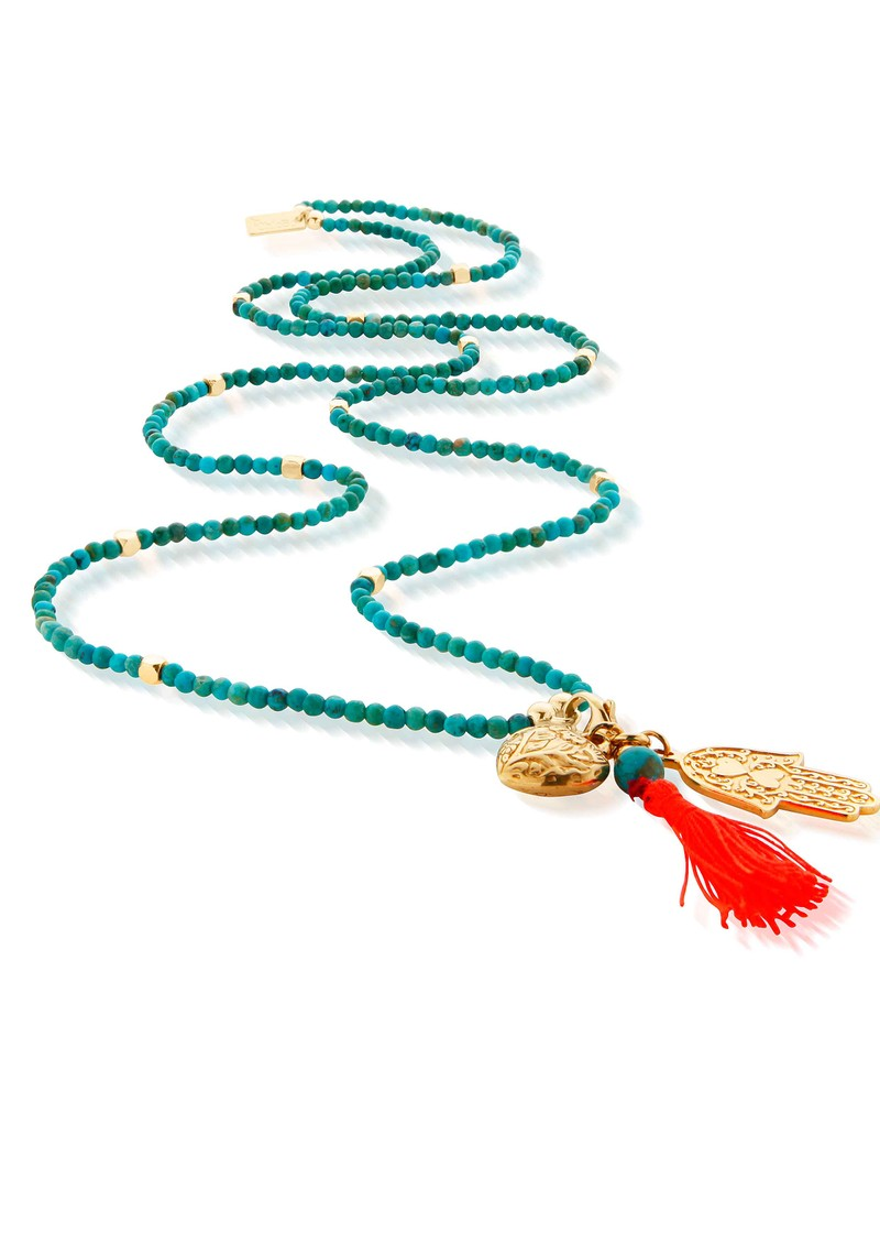 ChloBo Let's Dance Turquoise Small Decorated Heart & Hamsa Hand Necklace - Gold & Turquoise  main image