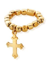 ChloBo Let's Dance Chunk Ring with Mini Cross - Gold