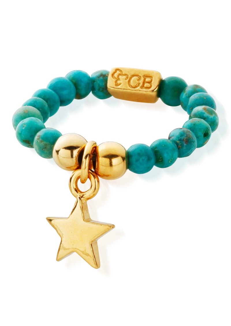 ChloBo Let's Dance Turquoise Ring with Mini Star - Gold main image