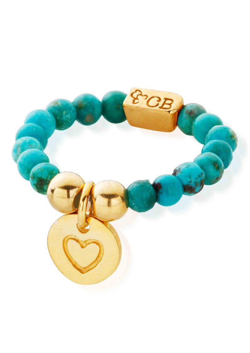 ChloBo Let's Dance Turquoise Ring with Heart in Circle Charm - Gold main image